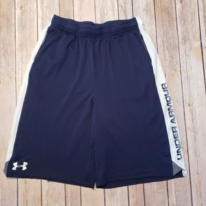 Under Armour Boys Shorts Loose Fit Navy Blue Logo